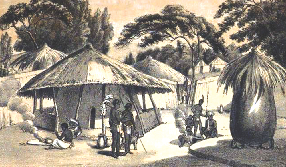 Burchell's drawing of a homestead at Dithakong