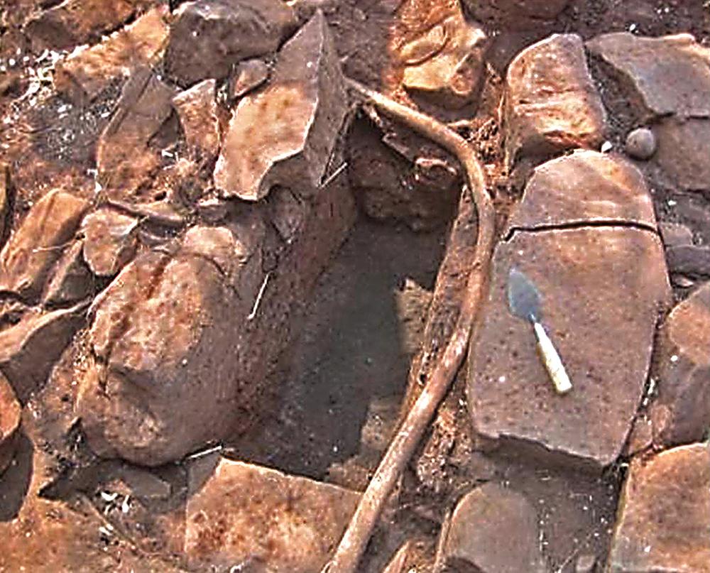 Excavated iron smelting furnace at Marothodi