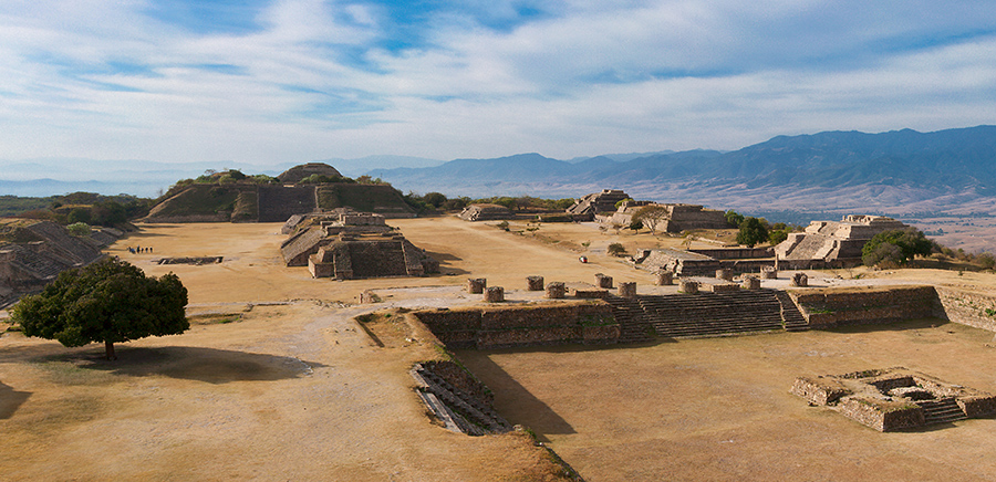 Panorama of sacred site Monte Alban in Mexico